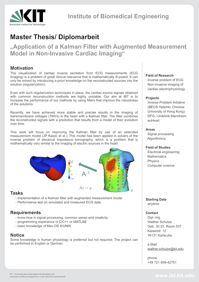 Application of a Kalman Filter with Augmented Measurement Model in Non-Invasive Cardiac Imaging
